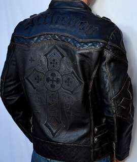 Affliction GEAR UP Mens Biker Leather Jacket   Motorcycle   NEW