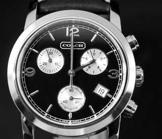 Coach Mens Bleecker Swiss Chronograph Black Leather Strap Watch