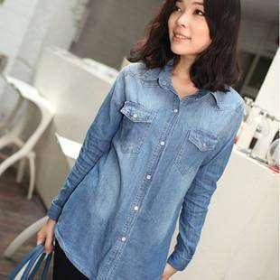 Womens Lady Casual Retro vintage Long Sleeve Blue Jean Denim Shirt