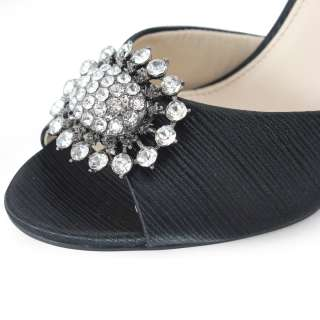 SHOEZY womens black satin rhinestones buckle peep toe dress high heels