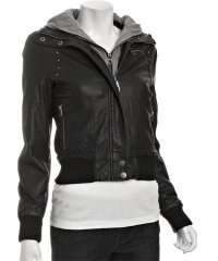 black faux leather studded bomber jacket with fleece hood