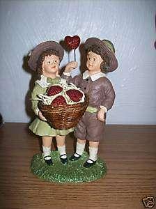 Boy & Girl with Basket of Hearts Figure by KD Vintage