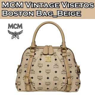Brand New Authentic MCM Vintage VISETOS Boston Bag Medium NWT_Beige