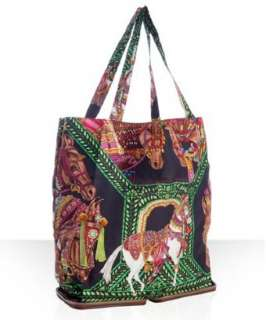 Hermes black silk La Danse du Cheval Marwari collapsible tote