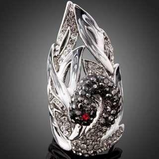 Girls Rhinestone Onyx Swarovski Crystal Swan White Gold GP Finger