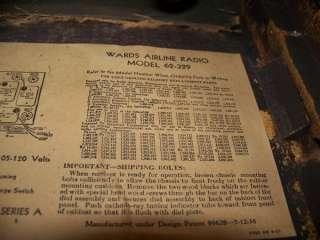 WARDS AIRLINE SHORT WAVE RADIO MODEL 62 329 |