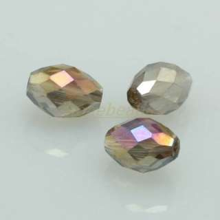 Faceted Smoky AB Crystal Glass Rice Spacer Beads 50PCS
