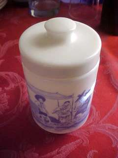 Vintage Belgium Milk Glass Oriental Blue Lidded Jar