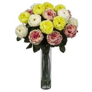 Assorted Pastels Fancy Rose Silk Flower Arrangement