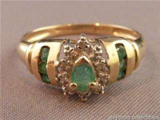 Vintage 10kt Y Gold Diamond & Emerald Cocktail Ring
