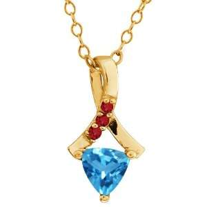 0.61 Ct Trillion Swiss Blue Topaz and Garnet Gold Plated