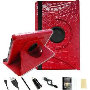 FINTIE ® (Crocodile Red) 360° Rotating PU Leather Case