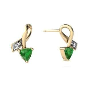 14K Yellow Gold Trillion Genuine Emerald Ribbon Earrings Jewelry