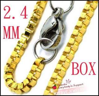 18kgp Yellow Gold Tone 2.4mm Stainless Steel Box Chain Necklace