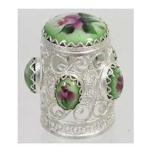 Russian Thimble Filigree/Hand Painted Enamel (1221