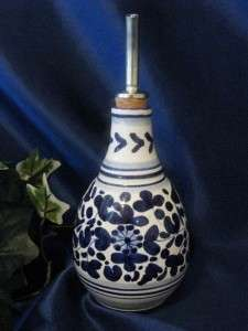 DERUTA ITALY Italian Pottery BLUE BIRD OLIVE OIL Bottle