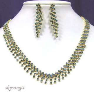 Blue Crystal Bridal Gold Necklace Earrings Set NS1042N