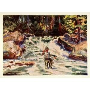 1945 Print Maine Trout Water Fly Fishing Fisherman John