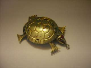 Vintage Gold Tone Turtle Pendant Moving Parts Hong Kong