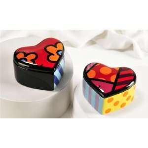 Romero Britto Ceramic Heart Trinket Boxes (2) Patio, Lawn