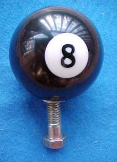 real] black 8 BALL POOL BALL GEAR SHIFT KNOB metal insert~hot/rat/rod