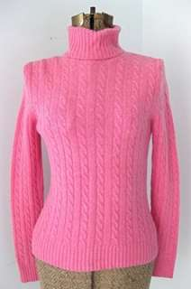 Crew Womens Pink Cable Knit Turtleneck Angora Cashmere Wool Blend