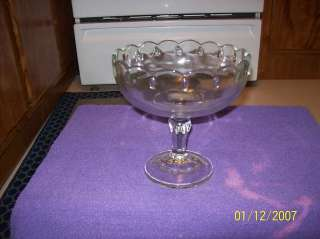 VINTAGE INDIANA GLASS CLEAR COMPOTE TEARDROP CANDY DISH
