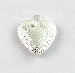 10 Silver Plt Pattern Heart Locket Pendant 20mm #20406