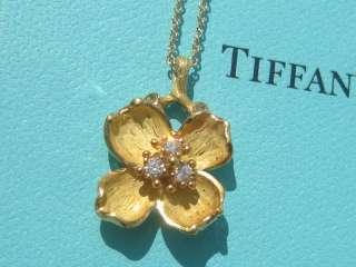 TIFFANY & CO. 18K YELLOW GOLD DIAMOND DOGWOOD FLOWER NECKLACE PENDANT