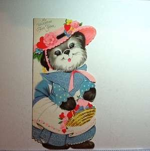 Vintage Gibson Glitter Valentine Card Dog in a Dress and Bonnet