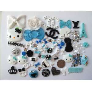 56 Mix Blue Hello Kitty Bling Bling Flat Back Resin Cabochon