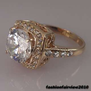Noble Rose Gold GP Swarovski Crystals Cocktail Engagement Wedding Ring