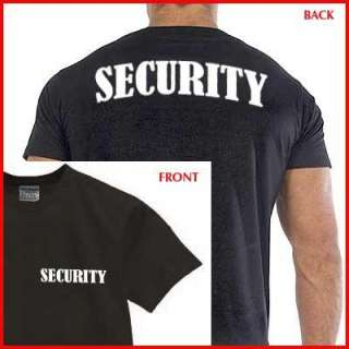 SECURITY T SHIRT event bouncer event staff Black DOUBLE SIDED