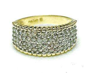 14k yellow gold Pave Set 1 Carat Diamond wedding style band ring WIDE