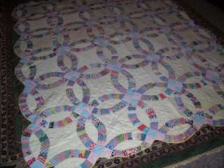 Antique Estate Double Wedding Ring Quilt Hand Made Magnificent Vintage