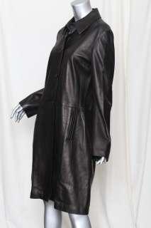 BARNEYS NEW YORK Womens Black Long LAMBSKIN LEATHER Coat Jacket L