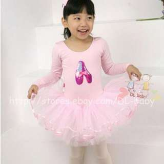 Pink White black baby toddler Girl Leotard Ballet Tutu Costume Dress 3