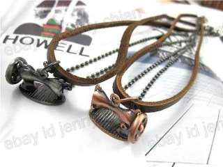 Mens COOL Korea Sewing Machine Pendant 100% genuine Leather Necklace