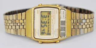 Vintage Mens Seiko Quartz LC Digital Alarm Chronograph Runs Great Gold