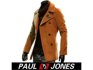 Men Stylish Slim Fit Jacket Smart duoble pea Coat casual formal