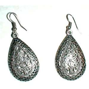 Tibetan Silver Flower Design Fish Hook Earrings Womens