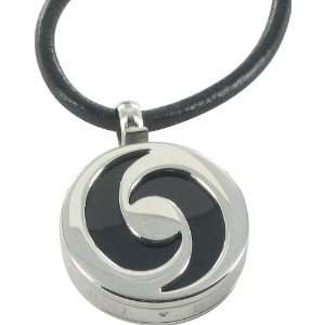 Stanless Steel Yin Yang Pendant & Black Leather Necklace Jewelry