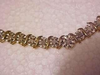 GORGEOUS 10K SOLID GOLD GENUINE DIAMOND NECKLACE & BRACELET SET ~ 24
