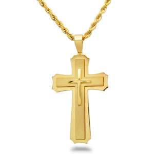 SSN112 Mens Gold Plated Cross Stainless Steel Necklace