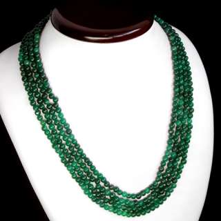 SUPERB AAA 4 STRAND ROUND 397.00 CARAT NATURAL GREEN EMERALD BEADS