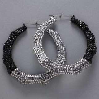 Fade Out Black Stoned Bamboo Hoop Earrings Basketball Wives Earrings