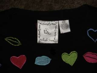 Simon Lite Hearts Kisses Lips Valentine Cardigan SZ P/P XS