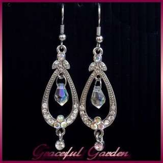 Vintage Victorian Style Crystals Faceted Glass Beads Dangle Earrings