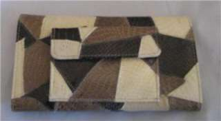 FAUX LEATHER SNAKE PATCH CLUTCH WALLET BROWN & BEIGE