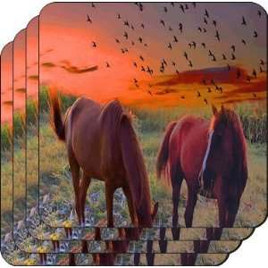Rikki KnightTM Horse on Sunset Backdrop   Square Beer Coasters   Drink